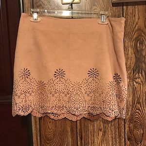 Forever 21 mauve faux suede mini skirt lace bottom